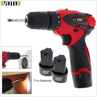 VOTO AC 100 - 240V Cordless 12V Electric Screwdriver / Drill with 2 Lithium Batteries and Two-speed Adjustment Button for Handling Screws / Punching