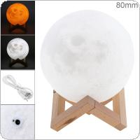 8CM Rechargeable 3D Print Moon Lamp with 2 Color Change Touch Switch Support Long Press The Switch to Adjust The Brightness for Creative Gift / Home Decor