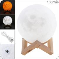 18CM Rechargeable 3D Print Moon Lamp with 2 Color Change Touch Switch Support Long Press The Switch to Adjust The Brightness for Creative Gift / Home Decor