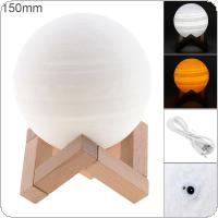 15CM Rechargeable 3D Print Jupiter Lamp with 2 Color Change Touch Switch Support Long Press The Switch to Adjust The Brightness for Creative Gift / Home Decor
