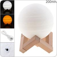 20CM Rechargeable 3D Print Jupiter Lamp with 2 Color Change Touch Switch Support Long Press The Switch to Adjust The Brightness for Creative Gift / Home Decor