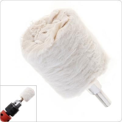2 Inch Cylinder Shape White Cloth Polishing Wheel Mirror Polishing Buffer Cotton Pad with 6mm Shank Diameter for Surface Polishing / Grinding