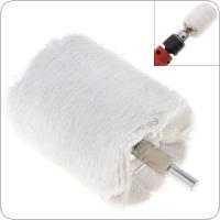 3 Inch Cylinder Shape White Cloth Polishing Wheel Mirror Polishing Buffer Cotton Pad with 6mm Shank Diameter for Surface Polishing / Grinding