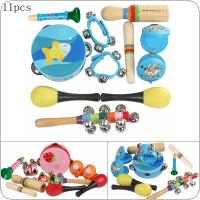 11pcs Orff Percussion Musical Instruments Set 4 Inch Tambourine Maracas Wrist Bells Mixed Kit for Children Baby Early Education Blue & Pink Color Optional
