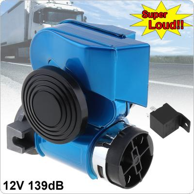 12V 139dB  Car Lacquer Blue Oblique Speaker Snail Compact Dual Air Horn for Car Vehicle / Motorcycle / ATVs
