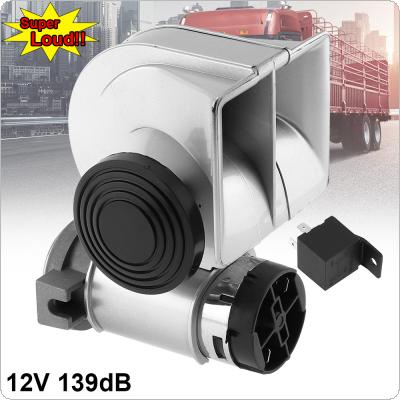 12V 139dB Car Lacquer Silver Snail Compact Dual Air Horn for Car Vehicle Motorcycle Yacht Boat SUV