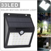 Outdoor Waterproof 33 LED Rechargeable Solar PIR Motion Sensor for Wall Light Garden / Patio / Lane