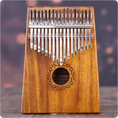 17 Key Kalimba Single Board Solid Acacia Wood Thumb Piano Mbira Natural Mini Keyboard Instrument with Complete Accessories