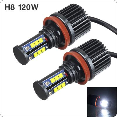 2pcs 120W H8 CREE LED Angel Eyes Car LED Halo Ring Marker Bulbs Light 6500K-7500K White Error Free for BMW