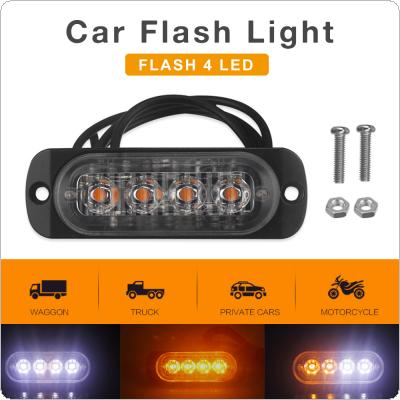 12V / 24V 12W 4 LED White + Yellow Waterproof  Car Truck Emergency Beacon Warning Hazard Flash Strobe Light Bar