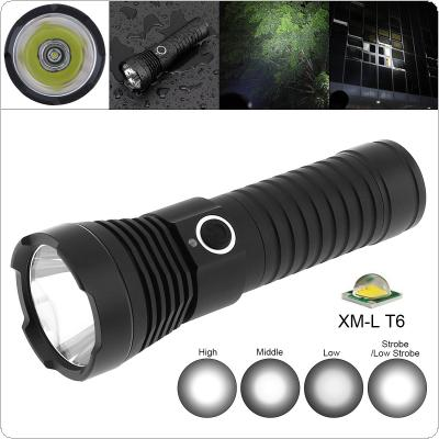 TC16 10W Super Bright XMK T6 LED 1100 Lumens Aluminum Alloy Waterproof Flashlight with 5 Modes Lights Support 18650 / 26650 Battery for Cycling / Camping
