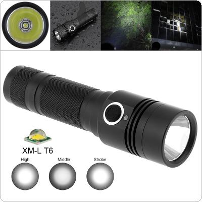 TC14 10W Super Bright XMK T6 LED 1100 Lumens Aluminum Alloy Waterproof Flashlight with 4  Modes Lights Support 18650 Rechargeable Battery for Camping
