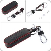 3 Buttons Hand Sewed Leather Car Key Cover Protector Holder with Hanging Buckle Fit for  Mazda Intelligent 3 Key