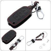 3 Buttons Leather Car Key Cover Protector Holder with Hanging Buckle Fit for Volkswagen / VW / Jetta MK6 / Tiguan / Passat / Golf 4 5 6 / POLO cc / Bora / Skoda