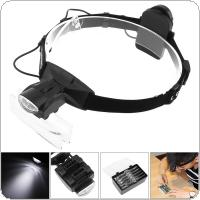 6X Portable 11 Amplification Ratio Adjustable Interchangeable Lens Headband Eyeglass Magnifier with LED Lights and 5 Lens for Reading Books