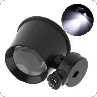 10X 20mm Portable Handheld Mini ABS + Acrylic Lenses Eye Mask Style Magnifier with LED Light for Antique Identification / Watch / Electronics Repair