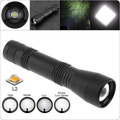 CT1 Super Bright XML L2 LED 1600 Lumens Aluminum Alloy Waterproof Zoomable Flashlight with 5 Modes Lights for Camping / Outdoor / Fishing