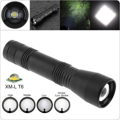 CT1 Super Bright XML T6 LED 1000 Lumens Aluminum Alloy Waterproof Zoomable Flashlight with 5 Modes Lights for Camping / Outdoor / Fishing