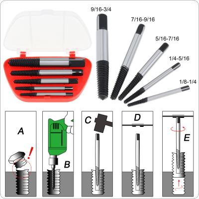 5pcs/set High-carbon Steel Screw Extractor Easy Out Set Drill Bits with Plastic Box for Removing Broken Bolts