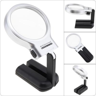 3X 62mm Adjustable Angle Plastic Multifunctional Optical Glass Magnifier with 2 LED Lights for Reading and Inspection