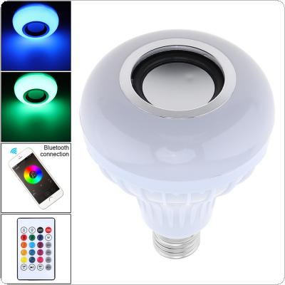 12W 100-240V E27 RGB Bluetooth Speaker LED Bulb Light Support Music Playing Dimmable Wireless LED Lamp with 24 Keys Remote Control for Home / Shop / Showroom