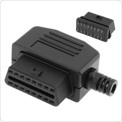 OBD-II L Type 16 Pin Female Connector Wire Sockets Connector Plug with Shell and Screw