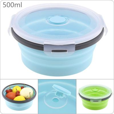 500ML Portable Circular Silicone Scalable Folding Lunchbox Bento Box with Silicone Sealing Plug for - 40 Degrees ~ 230 Degrees