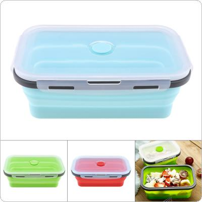 1200ML Portable Rectangle Silicone Scalable Folding Lunchbox Bento Box with Silicone Sealing Plug for - 40 Degrees ~ 230 Degrees
