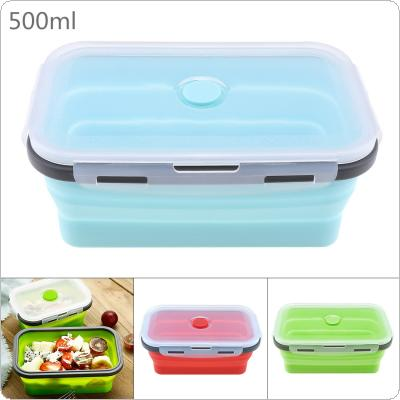500ML Portable Rectangle Silicone Scalable Folding Lunchbox Bento Box with Silicone Sealing Plug for - 40 Degrees ~ 230 Degrees