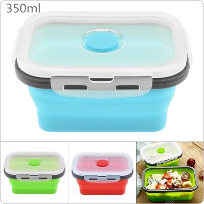 350ML Portable Rectangle Silicone Scalable Folding Lunchbox Bento Box with Silicone Sealing Plug for - 40 Degrees ~ 230 Degrees