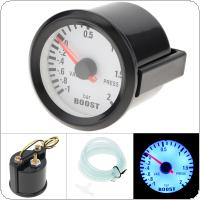 "6031BL  2"" 52mm 12V Blue LED  -1~2 Bar Turbo Boost Gauge Meter with Sensor for Car / Boat / Truck / ATV"