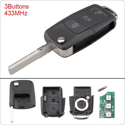 433MHz 3 Buttons Keyless Uncut Flip Remote Key Fob with ID48 Chip 1K0959753G Fit for Eos / Golf / Jetta / Tiguan / Sirocco / Caddy / Touran
