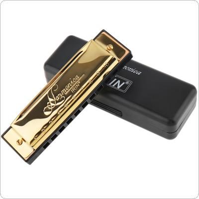 Gold 10 Hole 20 Tone Blues Harmonica Key ofC Mouth Organ with Black Storage Box