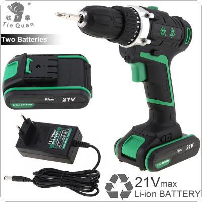 100 - 240V Cordless 21V Plus Electric Drill with 2 Lithium Batteries and Rotation Adjustment Switch for Handling Screws / Punching