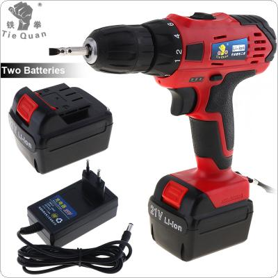 AC 100 - 240V Cordless 21V Electric Drill with 2 Lithium Batteries and Two-speed Adjustment Button for Handling Screws / Punching