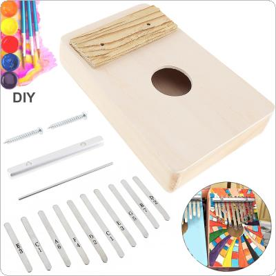 10 Key Kalimba DIY Kit Basswood Thumb Piano Mbira for Handwork Painting Parents-child Campaign