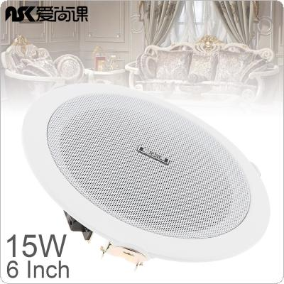 ASK-630 6 Inch 15W Fashion Metal Microphone Input USB MP3 Player Ceiling Speaker Public Broadcast Background Music Speaker for Home / Supermarket / Restau