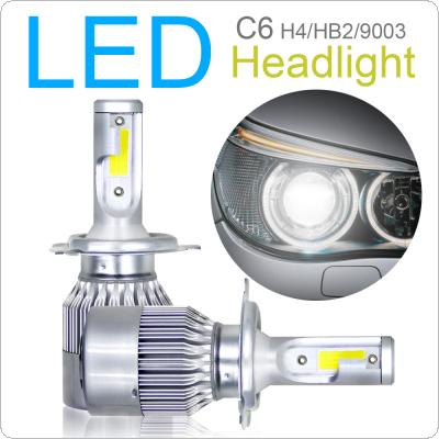 2pcs H4 / HB2 / 9003 C6 10800LM  6000K 120W COB LED Car Headlight Kit Hi / Lo Turbo Light Bulbs