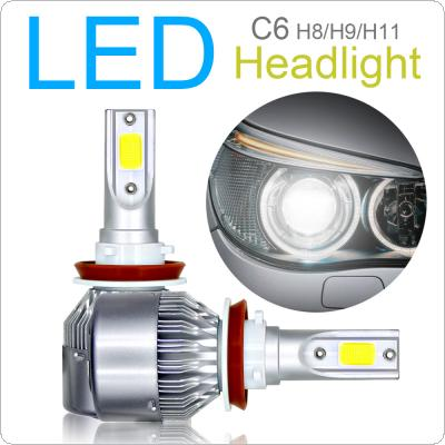 2pcs H8 / H9 / H11 C6 10800LM  6000K 120W COB LED Car Headlight Kit Light Bulbs