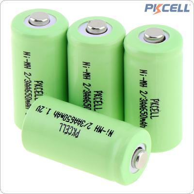 PKCELL 4pcs 1.2V 2/3AA 650mAh Ni-MH Rechargeable Batteries with Safety Relief Valve for Alarm / Clock / Wireless Mouse / Game Handle