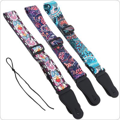 Adjustable Printing Guitar Strap with National Style Flowers Pattern 3 Colors Optional for Acoustic Electric Bass Guitar