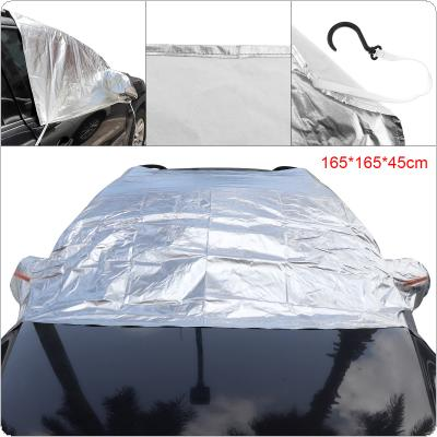 3L Universal Half Body Aluminum Foil Composite Cotton Four Seasons UV / Ice / Snow Protector Dustproof Car Clothing Cover with 4 Hook and Reflective Strip