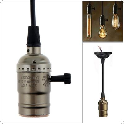 E27 110-250V Retro Screw Aluminum Bulb Lamp Holder Bulb Lamp Holder Ceiling Light Plug with Wire and Switch for E27 Screw Bulbs