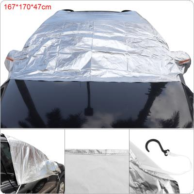 3XL Universal Half Body Aluminum Foil Composite Cotton Four Seasons UV / Ice / Snow Protector Dustproof Car Clothing Cover  with 4 Hook and Reflective Strip