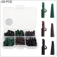 120pcs Carp Fishing Accessory Kit Lead Safety Clips Tail Rubber Tubes 3 Colors Mixed with Fishing Tackle Box