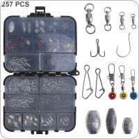 257pcs Fishing Accessories Kit Including Fishing Ring Tuna Crank Hook Snaps Rolling Swivel Fishing Connector Sinker Weights with Fishing Tackle Box