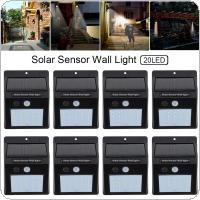 8pcs 20 LED Solar Light Motion Sensor Wall Lamp Outdoor Waterproof Courtyard Light with Energy Saving and Environmental Protection for Garden /  Fence / Patio