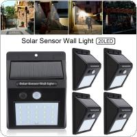 5pcs 20 LED Solar Light Motion Sensor Wall Lamp Outdoor Waterproof Courtyard  Light with Energy Saving and Environmental Protection for Garden / Fence / Patio