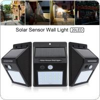 3pcs 20 LED Solar Light Motion Sensor Wall Lamp Outdoor Waterproof Courtyard Light with Energy Saving and Environmental Protection for Garden / Fence / Patio