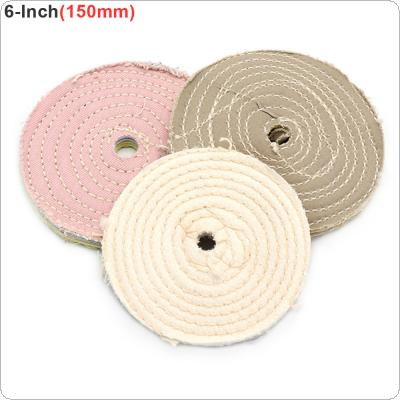 6 Inch T-shaped White Cotton Cloth Polishing Wheel Mirror Polishing Buffer Cotton Pad with 10mm Hole for Metal Polishing / Car Polishing